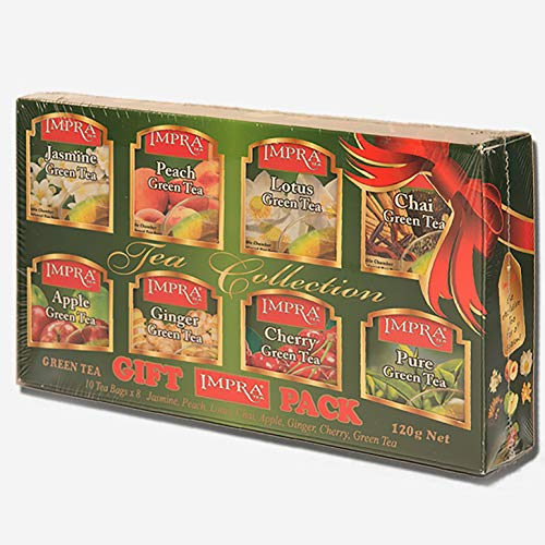 Impra Flavored Green Tea Gift Pack (8 Flavors), 80-count Tea Bags