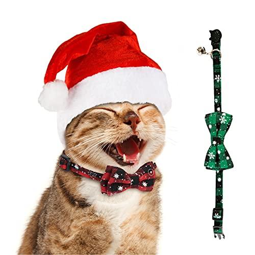 HONMOK 2pcs Collares para Gatos navideños Corbatas para Perros de Navidad Pajarita de Mascotas de Navidad Rojo Verde Lazos para Gatos Desmontables con Lazo y Campanas Evita pérdida Embellecimiento