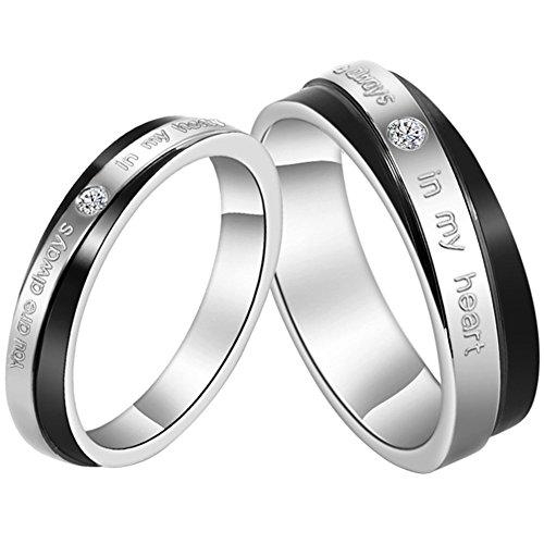 JewelryWe sieraden 1 paar roestvrij stalen partnerringen, You Are Always in My Heart gravure, vriendschapsringen trouwringen verlovingsringen band, zwart zilver