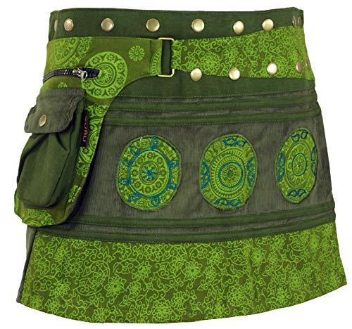 Guru-Shop Cord Wickelrock, Minirock, Kurzer Goa Rock, Cacheur Lang, Damen, Olive, Baumwolle, Size:One Size, Röcke/Kurz Alternative Bekleidung