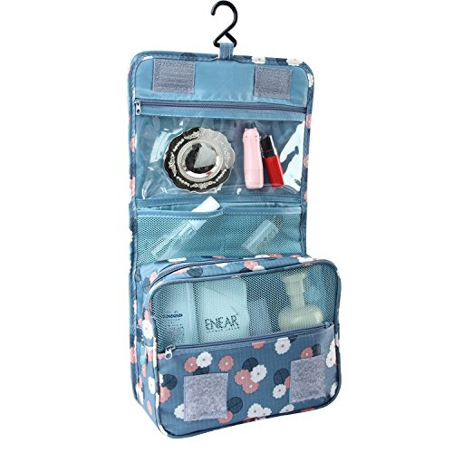 Toiletry Bags for Women,Discoball Folding Cosmetic Makeup Bag with Hook Hanging Organizer Bag with Multi Pouch(Light Blue)