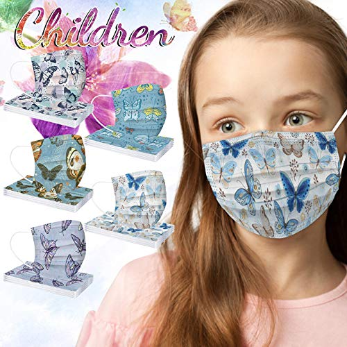 50 Unidades ma_scarillas re_utilizables d_esechables Dibujos niños Papel de f_iltro Industrial Transpirable de 3 Capas,variadas Colores imagenes de Dibujos Animados