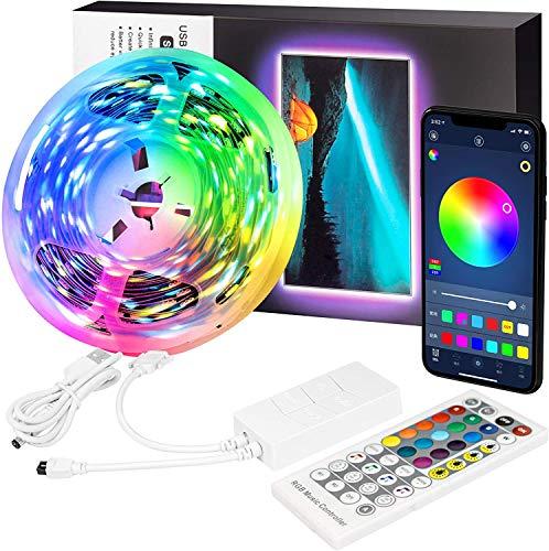 Tiras LED 5M, Tiras LED de Impermeable con Control Remoto, 4 Modos de Iluminación y 16 RGB Colores 150 LED Tira 5050 Bluetooth Decoracion Luces de Tiras, para TV, PC, Casa, Fiesta, Cocina, Bar