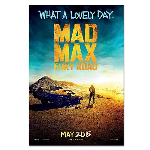 Wfmhra Póster de película MAX Road of Rage Car Movie Poster Print Art Vehicle Decoración del hogar 50x75cm Sin Marco