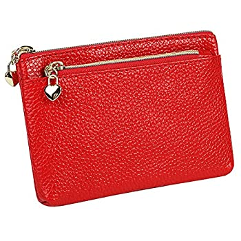 Women s Genuine Leather Coin Purse Zipper Pocket Size Pouch Change Wallet Red