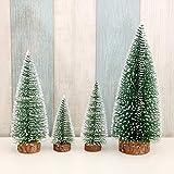 Mini árboles de Navidad de escritorio, 4 piezas de árboles de sisal esmerilado con base de madera, árboles de cepillo para botellas, árboles de mesa de Navidad para decoración del hogar (Verde)