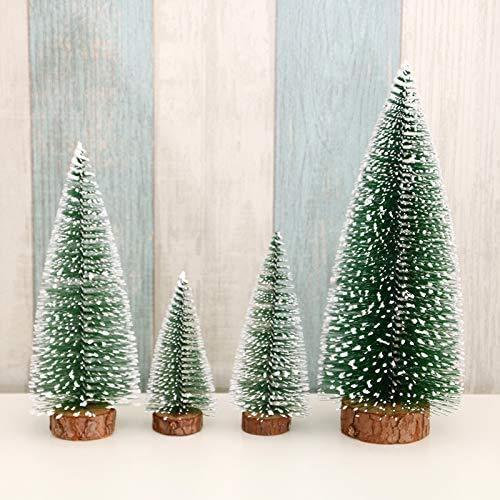 Dream Loom Mini Desktop Weihnachtsbäume, 4 Stück gefrostete Sisalbäume mit Holzbasis, Flaschenbürstenbäume Weihnachten Tischbäume für Wohnkultur (Green)