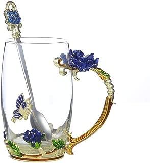 Handicraft Crystal Glass 3D Flower Cups Tea Mug With Tea Spoon Women Coffee, Tea, Juice, Beer, Milk Hot And Cold Drinks Use Gift. (Rose Blue High Coffee Cup, 12 oz)