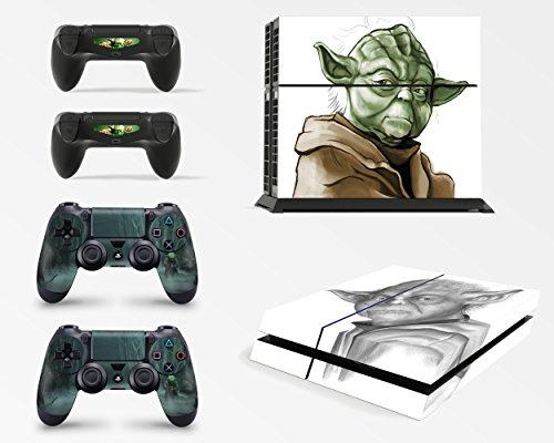 giZmoZ n gadgetZ GNG PS4 Konsolen-Gehäuseaufkleber, Motiv: Yoda von Starwars, inklusive 2er-Set mit Aufklebern für Controller