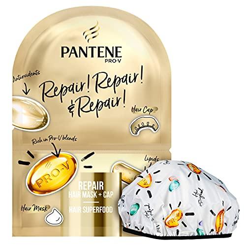 PANTENE Maschera&Cuffia per Capelli, RIPARATRICE, 1 Maschera 20 ml + 1 Cuffia, Regalo