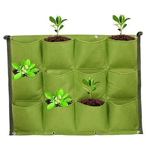 Fdit 12 bolsillos verticales de pared para jardín, mejor crecimiento de plantas, para jardín, oficina, decoración del hogar, embalaje múltiple.