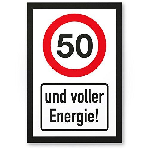 Bedankt! 50 jaar vol energie, plastic bord - Cadeau 50e verjaardag, cadeau-idee verjaardagscadeau vijfstigste, verjaardagsdeco/feestdecoratie/feestaccessoires/verjaardagskaart