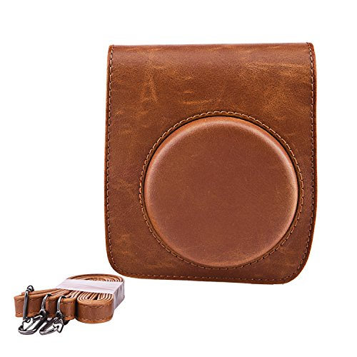 Sunmns Retro Vintage PU Leather Protective Case Bag Cover Compatible with Fujifilm Instax Mini 90 Instant Film Camera, Brown