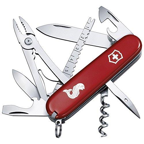 Victorinox Angler Couteau de Poche Suisse, Léger, Multitool, 19 Fonctions, Tire Bouchon, Eailleur à Poissons, Dégorgeoir, Rouge