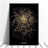 Mapas de luz de la ciudad de Manchester, carteles de mapas de la ciudad del mundo personalizados, impresiones en lienzo, arte de pared de estilo nórdico, decoración del hogar, 50x75cm sin marco