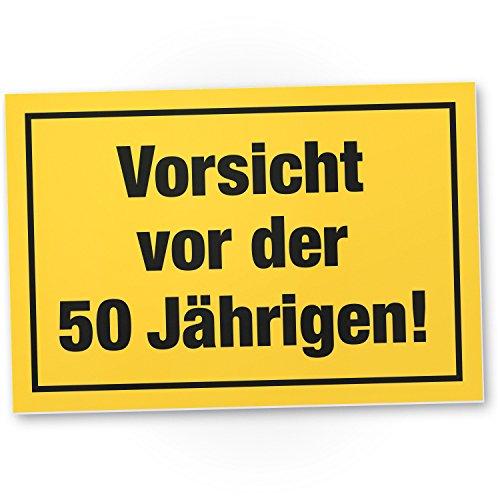 Bedankt! Wees voorzichtig voor het 50 jaar, plastic bord - Cadeau 50 verjaardag vrouwen, cadeau-idee verjaardagscadeau vijfstigste, verjaardagsdeco/partydecoratie/feestaccessoires/verjaardagskaart