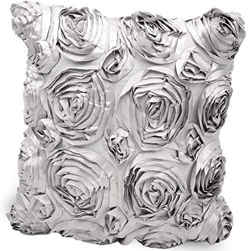 mojoliving Rosen Kissenbezug 40x40 Blumen Deko Kissenhülle Sofakissen Dekokissen Zierkissen Couchkissen Set Ohne Füllung (Rosen Grau - MK23)