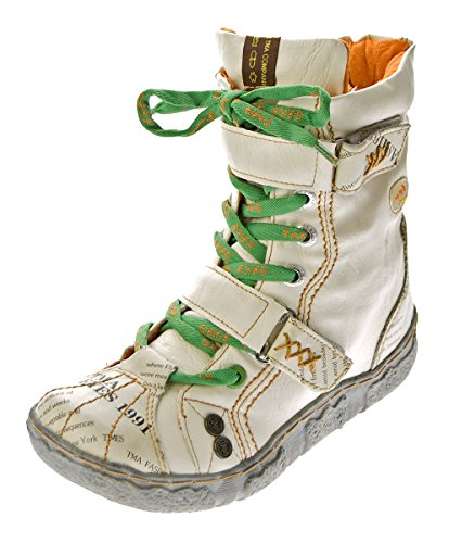 TMA Damen Leder Stiefeletten 7087-N Knöchel Schuhe gefüttert Winter Stiefel Weiß/N Used Look Gr. 38