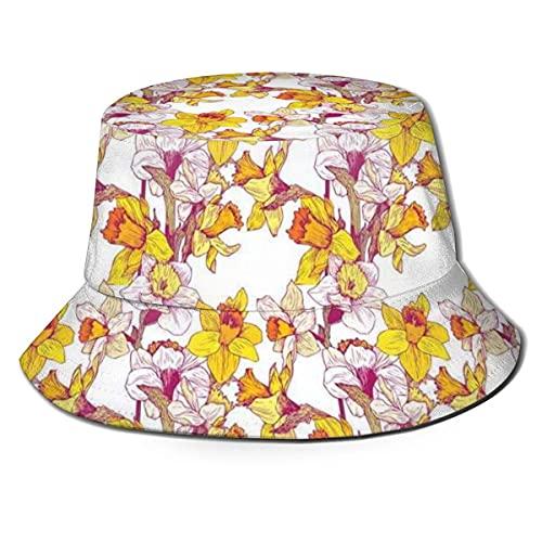 Gorra de Pescador Unisex Complejo Colorido detallado Mixto Flor de Narciso Seis pétalos Amor Equilibrio Pintura Verano Viaje Sombrero de Playa