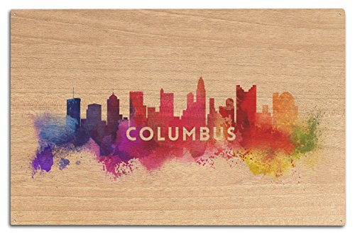 Lantern Press Columbus, Ohio - Skyline Abstract (10x15 Wood Wall Sign, Wall Decor Ready to Hang)