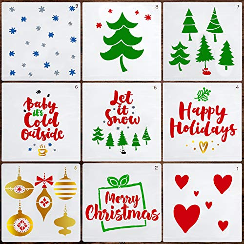 Christmas Stencils 7.8inch – Merry Christmas Stencil 9PCS – Premium Painting Stencils – Lovely Christmas Décor – Heavy Duty and Durable – Easy to Use – Perfect for DIY, Arts and Crafts