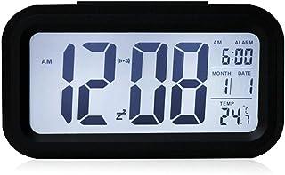 YIQI Réveil numérique sans Fil à Piles avec Date, température, capteur Lumineux Intelligent, 12/24 Heures, répétition pour...