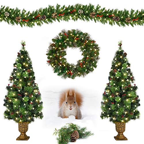 MOOSENG Christmas 4-Piece Set | Garland, Wreath and Set of 2 Entrance Trees Includes Pine Cones| Red Berries| Pre-Strung 180...