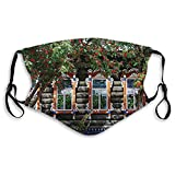 Fashion 3D Face_mask_Protect Printed Gesichts-Mund-SchutzFelineModern Wooden House with Shutter at Windows Fence Flower Trees Blooms Dream Art,Fashion Funny Face Adjustable for Unisex S