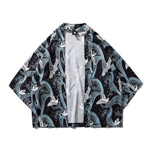 Traditionelle Kleidung Stil Kimonos Crane Print Japanische Kimono Cardigan Cosplay Shirt Bluse Für Frauen Männer Yukata Robe-1_XXL
