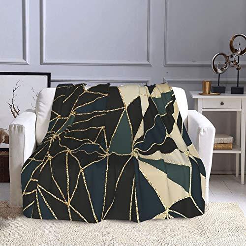 KCOUU Couverture polaire 127 × 152 cm New Art Déco Géométrie Vert émeraude & Or Douce Couverture décorative pour canapé, lit, canapé, voyage, maison, bureau, toutes saisons