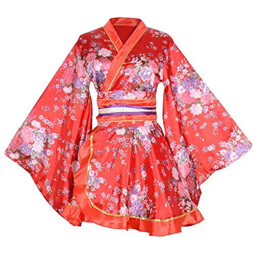 Kimono Bathrobe Costume Japanese Traditional Yukata Cosplay Women's Sexy Sakura Pattern (Red)