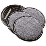 Softtouch 2 1/2' Round Reusable Carpet-Bottom Caster Cups for Hardwood, Tile, Laminate Floors, Brown (4 Pack)