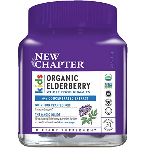 New Chapter Elderberry Gummies for Kids- Kids Organic Elderberry Whole-Food Gummies for Immune Support + Great Tasting- 30 ct
