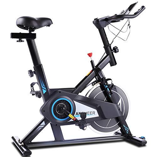 ANCHEER Heimtrainer Fahrrad mit APP, Leise und Leichtgängig Fitnessbike, Hometrainer Indoor Cycling Bike Ergometer mit 35lb Schwungscheibe & Sitz