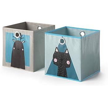 Vicco 2er Set Faltbox 30x30 Cm Kinder Faltkiste Aufbewahrungsbox Regalkorb Elch Hund Katze Katze Amazon De Kuche Haushalt