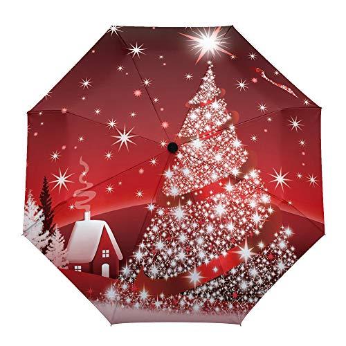 Faltbarer Reise-Regenschirm, Weihnachtsbaum mit leuchtendem Stern, rotes Haus, automatisches Öffnen/Schließen, kompakter, winddichter Regenschirm für Mädchen/Frauen/Erwachsene