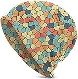 iuitt7rtree 15401 - Gorro de punto de cruz con patrón de cristal colorido, suave y holgado, diseño de calavera, color blanco y negro