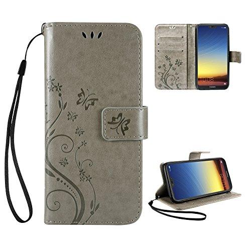 Leathlux Wallet Cover Huawei P20 Lite, Custodia Huawei P20 Lite - Retro Flowers Design Pattern Custodia In Pelle Con Wallet...