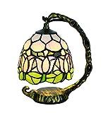 Tokira 5 Zoll Klein Tiffany Tischlampe Aus Farbigem Glas, Lila Tulpe Blume Nachtlicht, Mini Tischlampe für Kinder Schlafzimmer/Wohnzimmer/Kinderzimmer, Freie LED Glühbirne