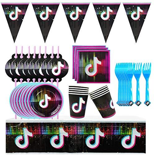 JAHEMU Tik Tok Party Supplies Vajilla Diseño Incluye Pancartas, Platos, Tazas, Servilletas,...