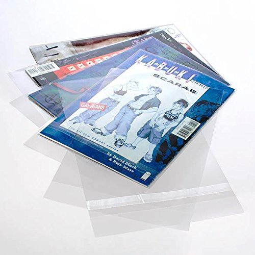 Clear Comic Book Bags   100 Bags   7 1/8' x 10 5/8' Perfect for Comic Books, Art, or Memorabilia   Protects from Wear and Tear   Resealable Adhesive   Acid Free and Archival Safe