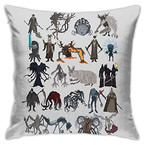 Ahdyr Bloodborne Bosses Cushion Throw Pillow Cover Decorative Pillow Case For Sofa Bedroom 18 X 18 Inch