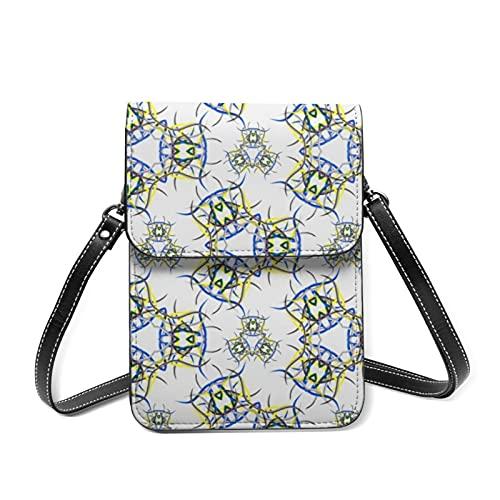 Petit sac à bandoulière pour téléphone portable - Jaune et violet - Blocage RFID - Avec emplacements pour cartes - Violet - Brochure daffiche Abstractmat, Taille unique