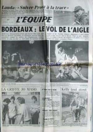 EQUIPE (L') [No 11955] du 17/10/1984 - LAUDA - PROST - BORDEAUX - FOOT - JO MASO - KELLY - CYCLISME - ATHLETISME - BASKET - TENNIS.