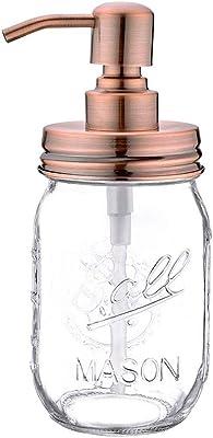 16オンスメイソンジャーソープディスペンサー-ファームハウスソープディスペンサーw/ステンレス製ポンプ-キッチンとバスルーム用液体ハンドソープディスペンサー (Copper,1)