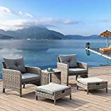 LUCKWIND Patio Sofa Chair Table Ottoman - 5 Piece All-Weather Brown Checkered Wicker Rattan Seating Olefin 3-Layered Ergonomic Cushion Modern Glass Coffee Table Outdoor 300lbs (Brown Wicker Grey)