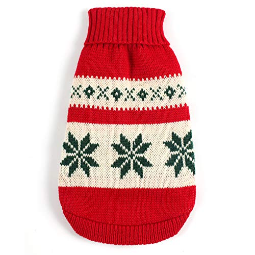 DNAMOFV Dog Christmas Sweater Red Snow Winter Warm Dog Turtleneck for Puppy Cat Back Length 14'