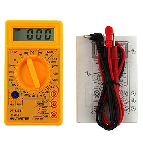 UEETEK Multímetro Digital Autorango Automático Voltímetro AC DC Amperímetro Ohmímetro Tester (Amarillo)