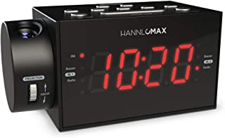 HANNLOMAX HX-109CR PLL FM Radio, Clock with Dual Alarm, Time Projection, 1.2 inches LED Display, USB Port for 1A Charging,...