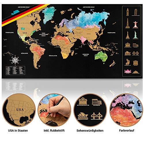 *Inventy® Weltkarte zum Rubbeln in Wasserfarben Design – Rubbel Weltkarte in Deutsch (43,5 x 80 cm) inkl. Geschenkverpackung – Landkarte zum Rubbeln in Gold/Schwarz*